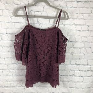 NWT Miss Chevious Wine Off Shoulder Lace Top